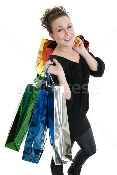 Vásárlás vonzó kaukázusi nő tart sok Stock fotó © elvinstar