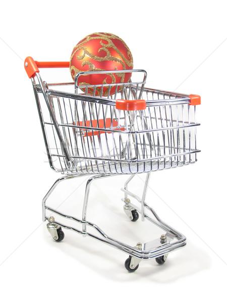 Natal ornamento miniatura carrinho de compras compras bola Foto stock © elvinstar