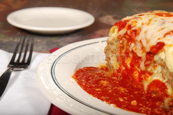 Branco prato macarrão garfo alimentação Foto stock © elvinstar