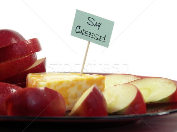 Sajt ék színes felirat alma szeletek Stock fotó © elvinstar