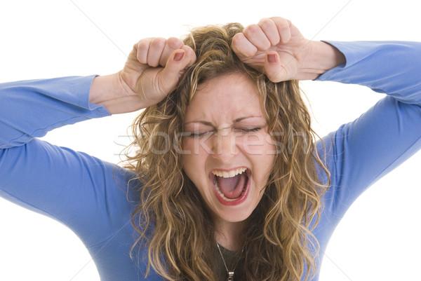 Fora mulher atraente mãos cabeça cabelo Foto stock © elvinstar
