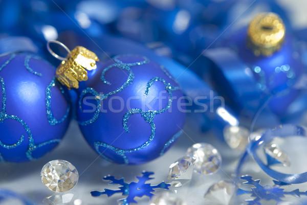 Foto stock: Navidad · adornos · decorado · azul