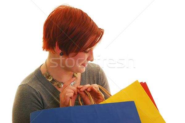 幸せ 魅力的な 白人 女性 ショッピングバッグ ストックフォト © elvinstar