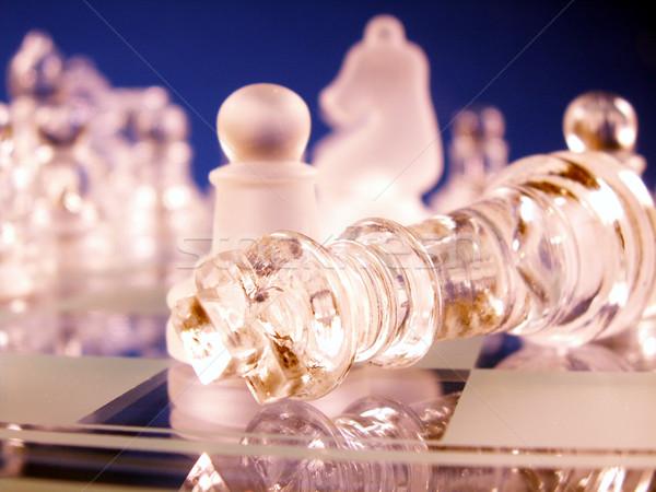 Spel koning beneden nederlaag focus schaakbord Stockfoto © elvinstar