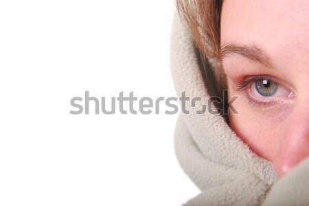 Mujer hasta verde manta ojo femenino Foto stock © elvinstar