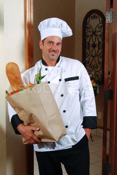 Chef casa trabalhar atraente caucasiano Foto stock © elvinstar