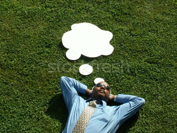 Gondolkodik üzletember fű rajz gondolatbuborék zene Stock fotó © elvinstar