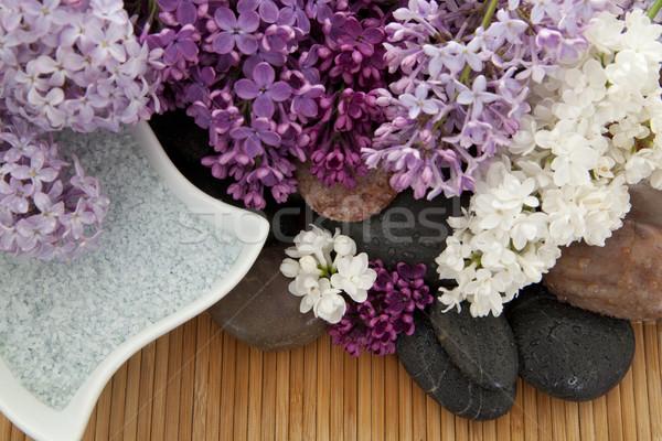 Fürdősó különböző szín kövek bambusz virág Stock fotó © elvinstar