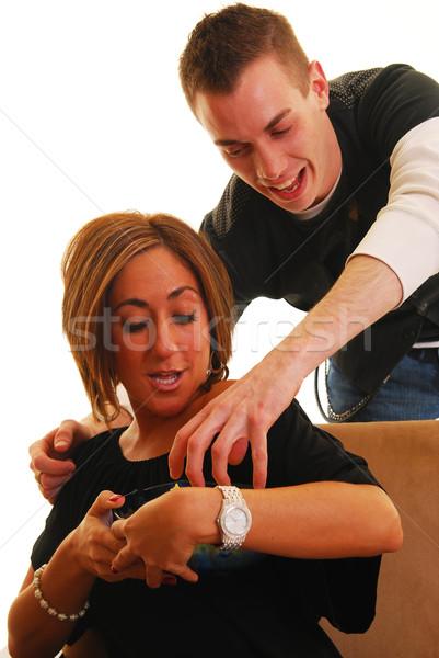 Palomitas ladrón hombre hombro mujer familia Foto stock © elvinstar