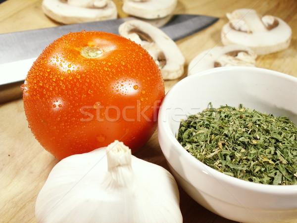 Foto stock: Macro · faca · ingredientes · cozinha · macarrão