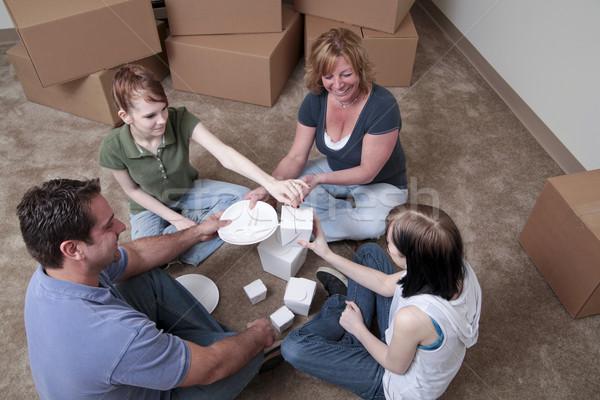 Foto stock: Primero · comida · familia · piso
