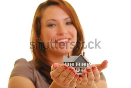 Feliz corredor de bienes raíces atractivo caucásico mujer Foto stock © elvinstar