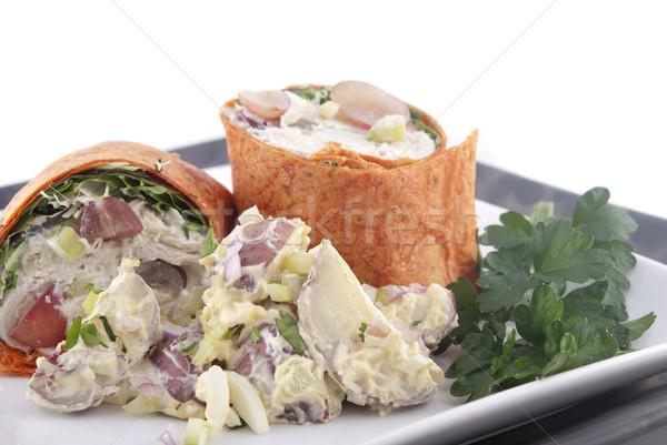 Tavuk salatası patates salatası sağlık plaka salata Stok fotoğraf © elvinstar