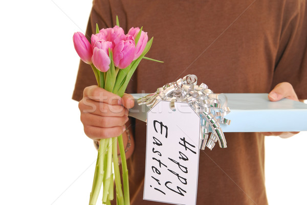 Close up of teenager holding a present Stock photo © elvinstar