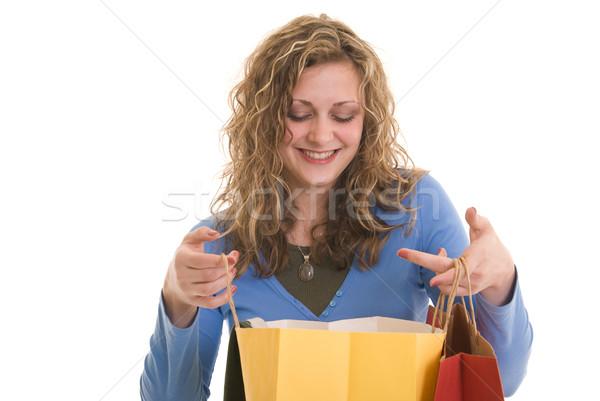Feliz atractivo caucásico mujer mirando Foto stock © elvinstar