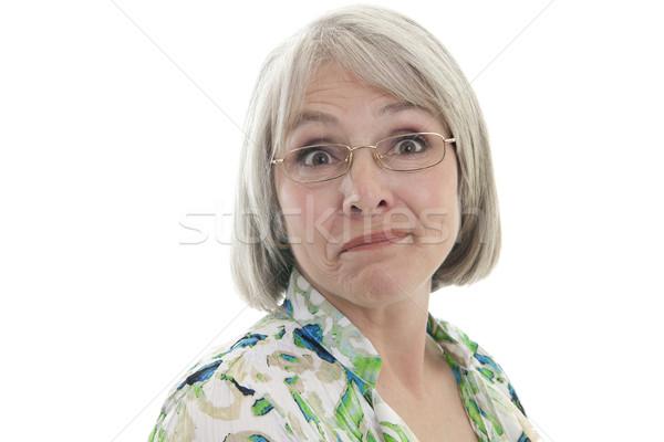Rijpe vrouw humoristisch volwassen aantrekkelijk kaukasisch vrouw Stockfoto © elvinstar