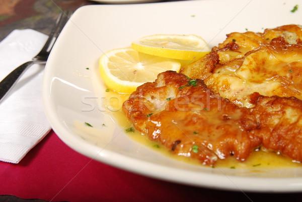 Pollo limón salsa blanco placa mesa Foto stock © elvinstar
