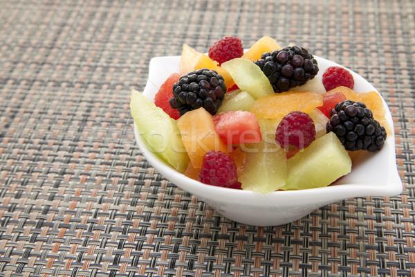 Frutas frescas branco tigela fruto Foto stock © elvinstar