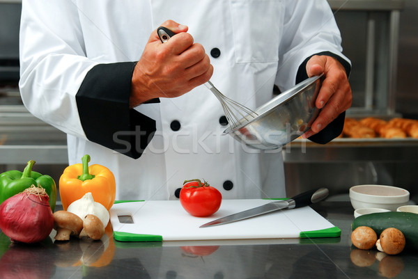 Chef with vegetables Stock photo © elvinstar