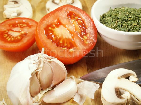 макроса ножом Ингредиенты разделочная доска кухне пасты Сток-фото © elvinstar