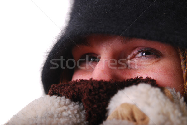 Woman keeping warm Stock photo © elvinstar