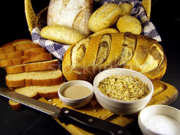 Pão ingredientes faca preto trigo Foto stock © elvinstar