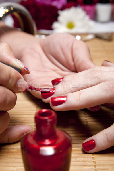 Stock photo: Red nail polish