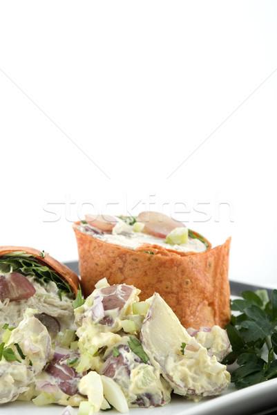 Salada de frango salada de batatas raso foco Foto stock © elvinstar