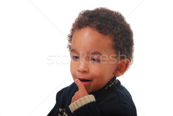ребенка глупый мальчика глазах черный Сток-фото © elvinstar