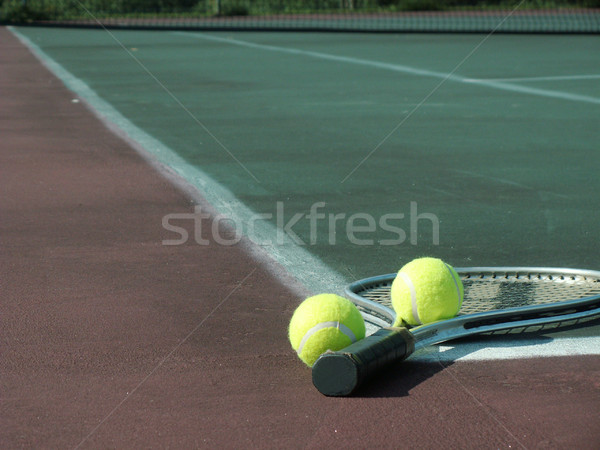 Spel tennisracket twee tennis bal Stockfoto © elvinstar