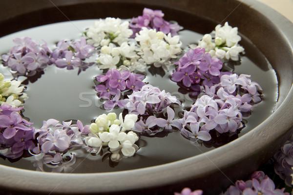 Flores tazón agua superficial Foto stock © elvinstar