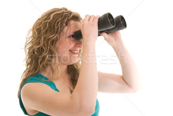 Olhando à frente mulher atraente binóculo mulher futuro Foto stock © elvinstar