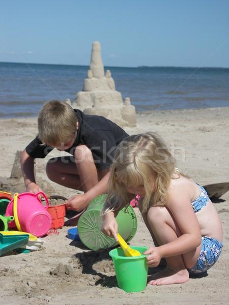 здании замок брат сестра пляж Сток-фото © elvinstar