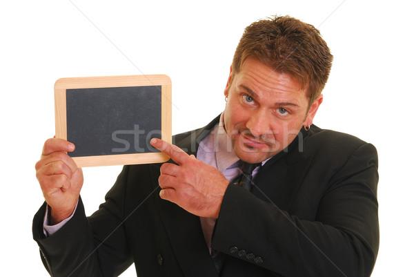 Foto stock: Homem · de · negócios · homem · terno · isolado · branco