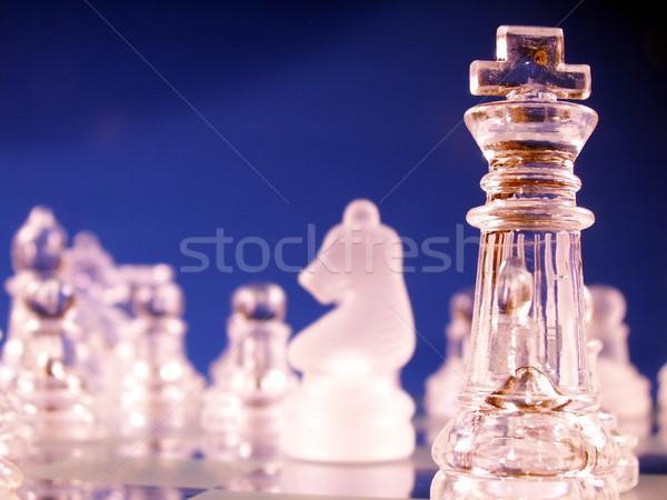 Rei foco tabuleiro de xadrez guerra castelo pensando Foto stock © elvinstar