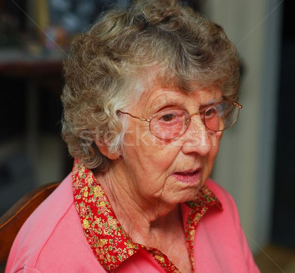 Zavart portré idős nő nők szemek Stock fotó © elvinstar