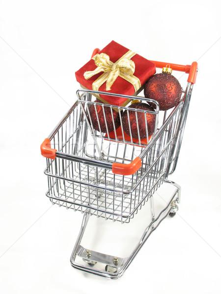 Navidad compras paquete adornos miniatura cesta de la compra Foto stock © elvinstar