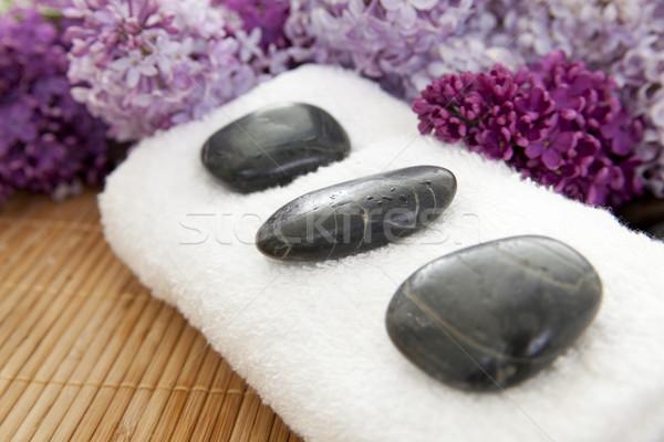Lila spa tres rocas blanco toalla Foto stock © elvinstar