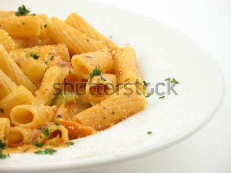 Tál tészta asztal szalvéta villa étel Stock fotó © elvinstar