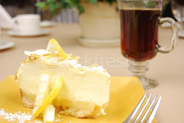 Limão torta amarelo prato café restaurante Foto stock © elvinstar
