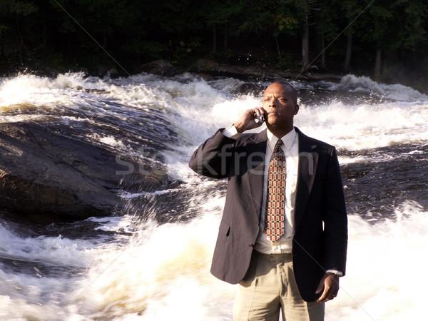 Llamando hombre de negocios traje teléfono celular pie naturaleza Foto stock © elvinstar