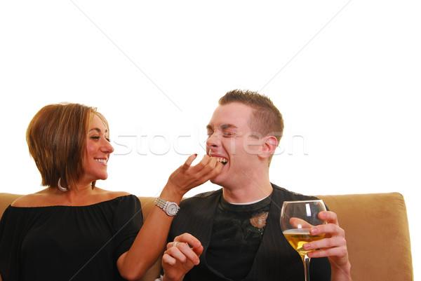 Casal mulher namorado pipoca Foto stock © elvinstar