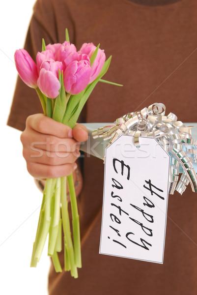 Adolescente presente etiqueta feliz pascua Foto stock © elvinstar