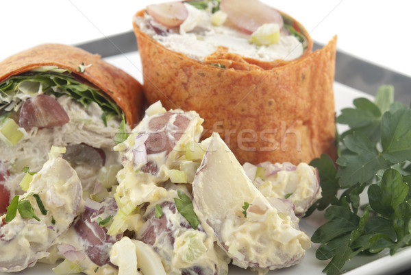 Csirkesaláta csomagolás burgonyasaláta sekély mélységélesség fókusz Stock fotó © elvinstar