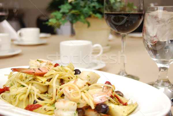 Rigatoni with seafood Stock photo © elvinstar