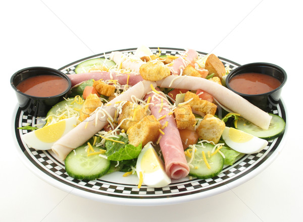 Chef ensalada todo vinagreta blanco huevo Foto stock © elvinstar