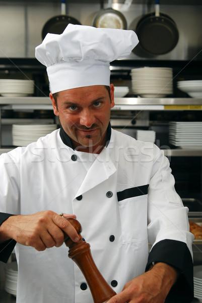 シェフ 唐辛子 グラインダー 魅力的な 白人 レストラン ストックフォト © elvinstar