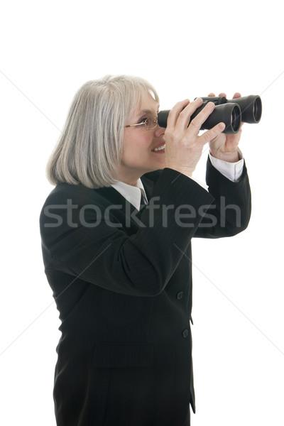 открыть будущем деловой женщины глядя бинокль бизнеса Сток-фото © elvinstar
