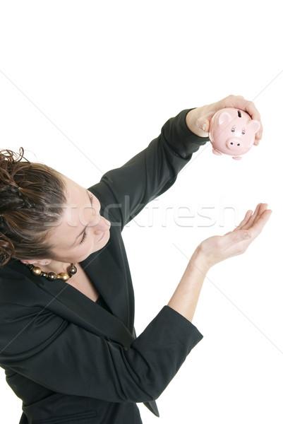Mi dinero atractivo caucásico mujer alcancía Foto stock © elvinstar