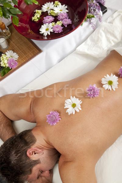 Terapia caucasiano homem mentiras massagem Foto stock © elvinstar